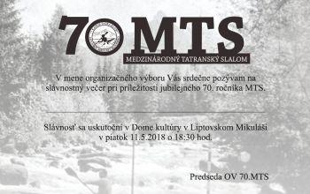 Slávnostný večer pri príležitosti 70. ročníka MTS